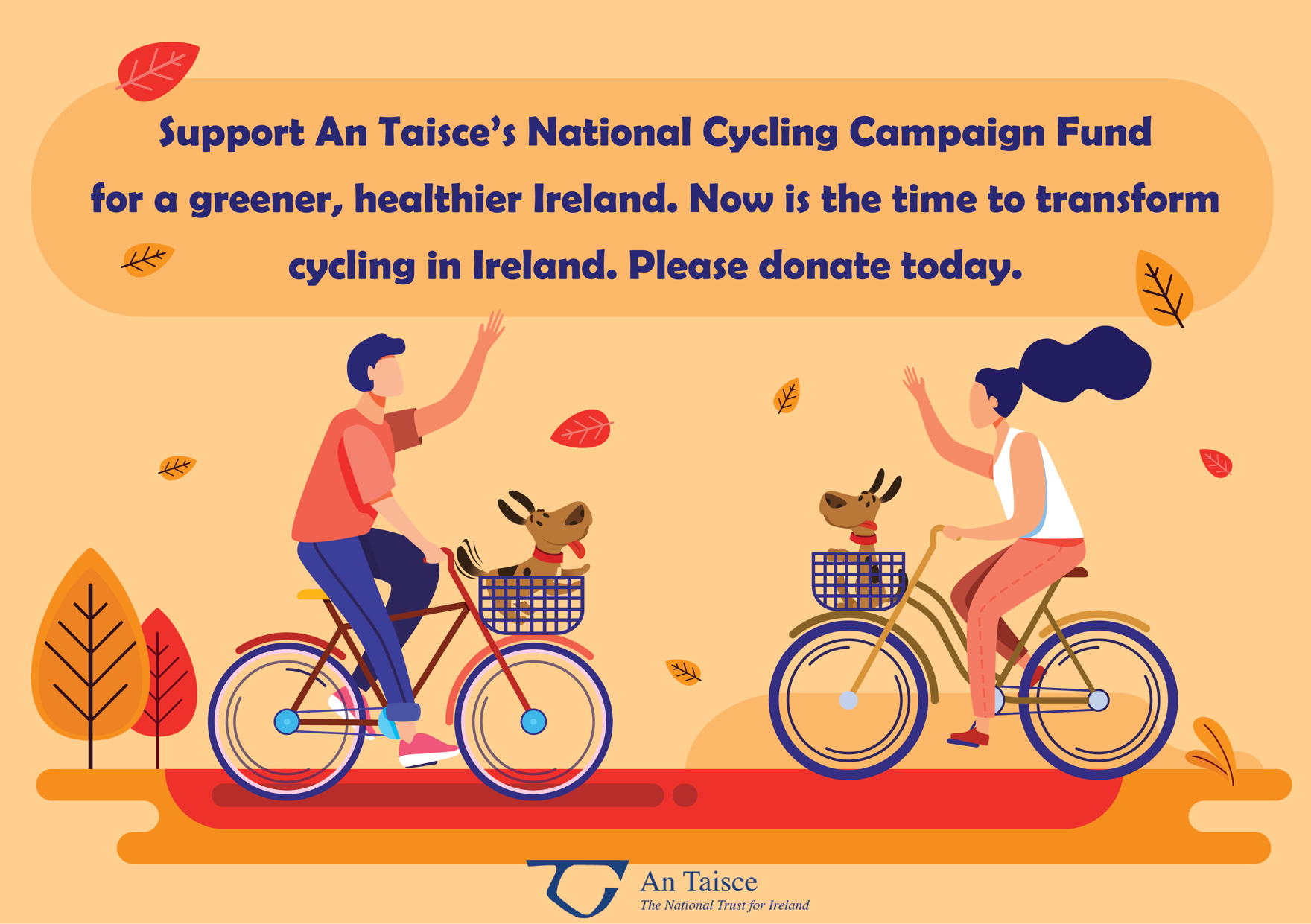 Graphic design for the National Cycling Coordinator fundraiser, two people on bikes