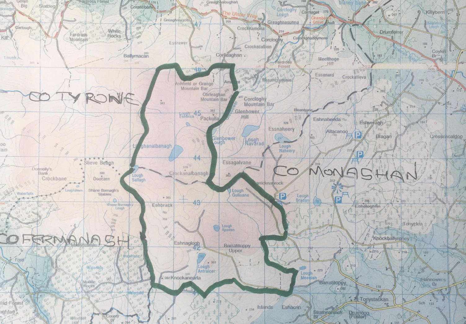 Map of the An Taisce lands at Sliabh Beagh, Counties Monaghan and Tyrone